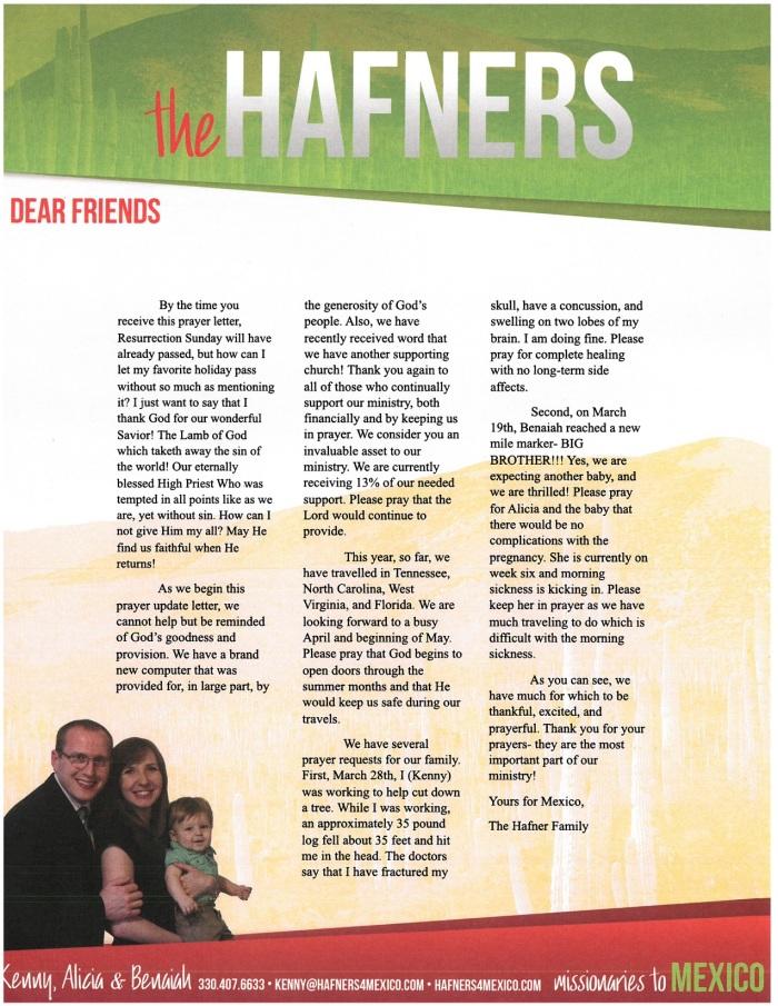 Prayer Letter 3-18