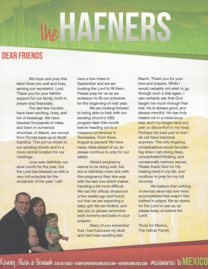 Prayer Letter 6-18