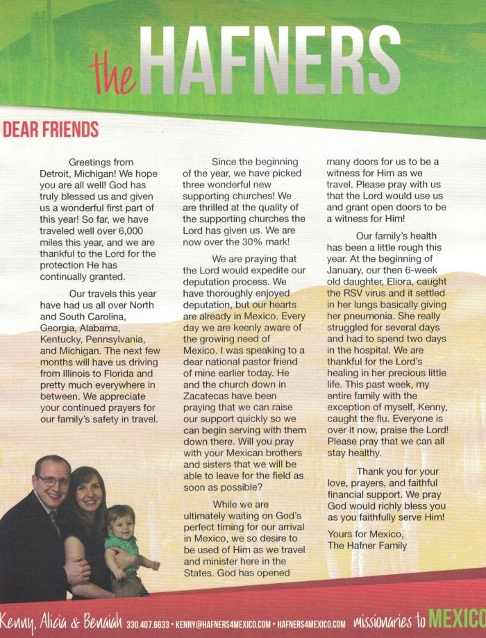 Prayer Letter 3-19