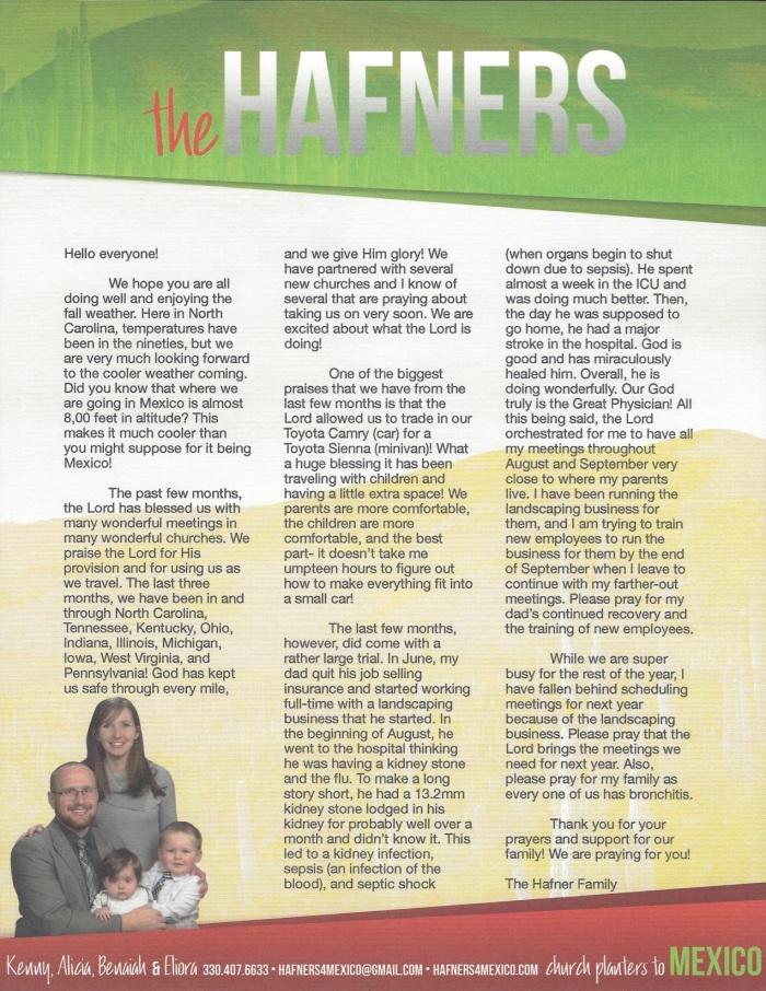 Prayer Letter 9-19